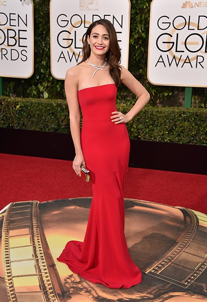Emmy Rossum arrives at the 73rd annual Golden Globe Awards on Sunday, Jan. 10, 2016, at the Beverly Hilton Hotel in Beverly Hills, Calif. (Photo by Jordan Strauss/Invision/AP)