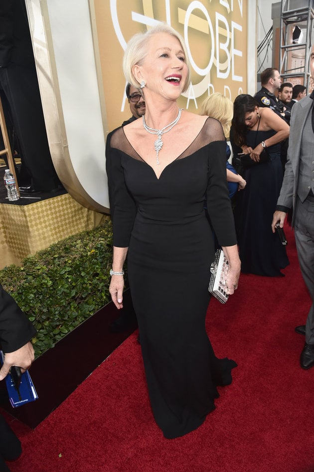 BEVERLY HILLS, CA - JANUARY 10:  73rd ANNUAL GOLDEN GLOBE AWARDS -- Pictured: Actress Helen Mirren arrives to the 73rd Annual Golden Globe Awards held at the Beverly Hilton Hotel on January 10, 2016.  (Photo by Alberto Rodriguez/NBC/NBCU Photo Bank via Getty Images)