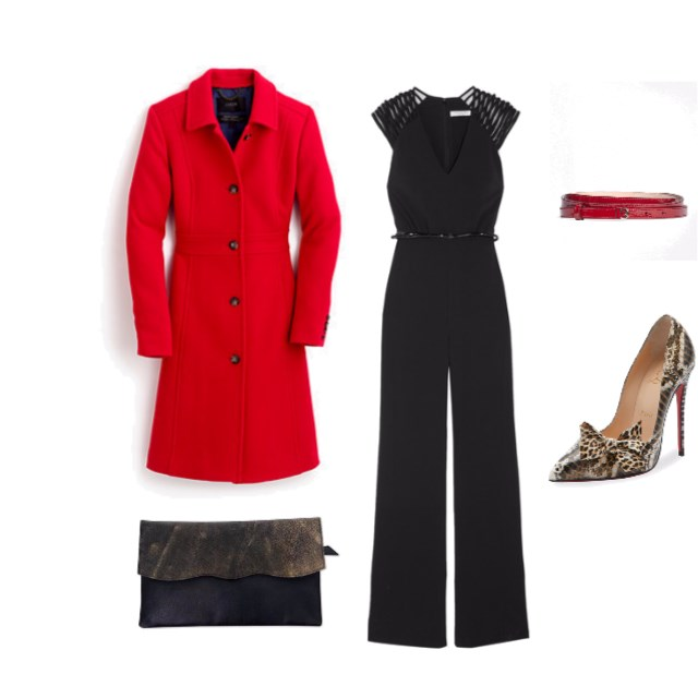 Black Jumpsuit & Red Day Coat - www.roxannecarne.com