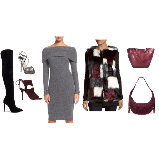 Faux Fur & Sweater Dress - www.roxannecarne.com