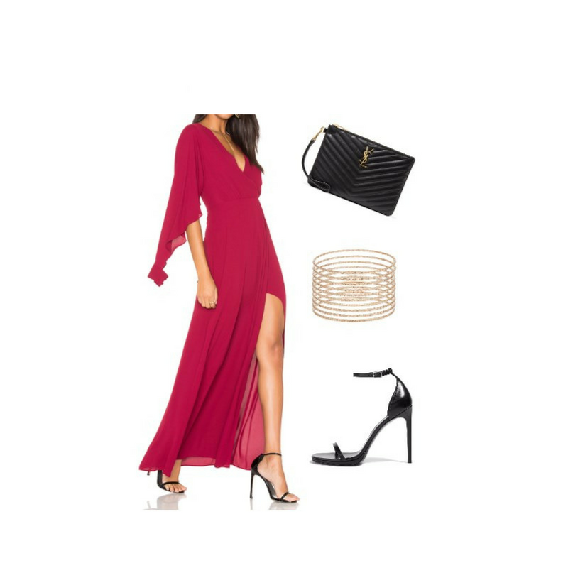 Cranberry Maxi Dress with Heels - www.roxannecarne.com
