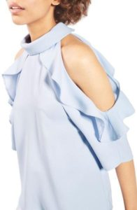 Spring Fashion - Topshop Ruffled Cold Shoulder Top - Nordstrom - www.roxannecarne.com