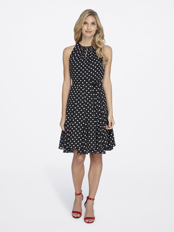 Tahari ASL Polka Dot Ruffled Chiffon Dress - Buy Now! - Roxanne Carne | Personal Stylist