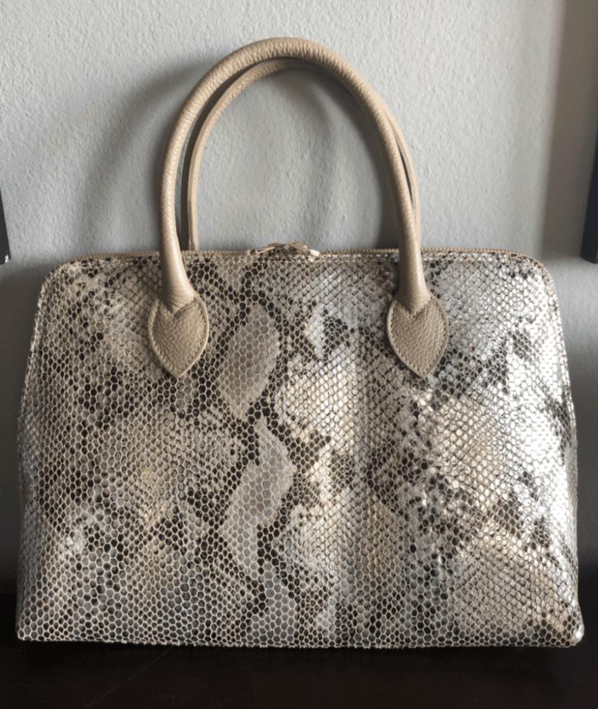 Italian Leather Handbag - Python Print - Roxanne Carne Personal Stylist